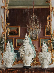 William Bruce Ellis Ranken (British, 1881-1941)      Two Interior Views: Dresden Vases at Sans Souci