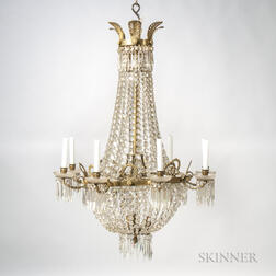Eight-arm Gilt-metal and Crystal Chandelier