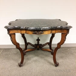 Rococo Revival Carved Walnut Marble-top Center Table