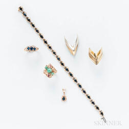 Group of Gold Gem-set Jewelry