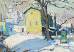 Ernest David Roth  (American, 1879-1964)      Winter Landscape with Houses