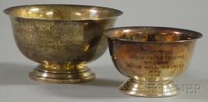 Two Small Revere-type Bowl-form Yachting Trophies