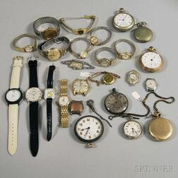 Group of Vintage and Fashion Pocket and Wristwatches