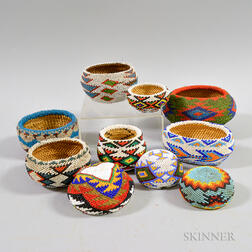 Ten Paiute Beaded Baskets