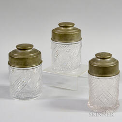 Three Gebelein Pewter-topped Reed & Barton Cut-glass Cannisters