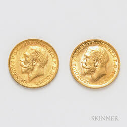 Two 1911 British Gold Sovereigns, KM820.