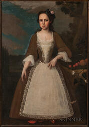 Dutch Colonial School, Second Quarter 18th Century      Girl in a Brown Dress with Lacy Apron