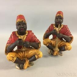 Pair of Carved Wood Blackamoor Figures