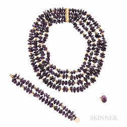 14kt Gold and Amethyst Suite