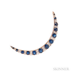 Antique Sapphire and Diamond Crescent Brooch