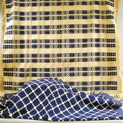 Two Blue and White Woven Geometric Pattern Coverlets