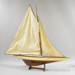 Carved and Painted Wood Yacht Model