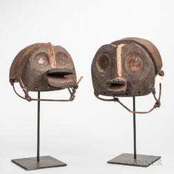 Two Nigerian-style Carved Wood Helmet Masks