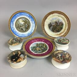 Eight Polychrome Transfer-decorated Prattware Items
