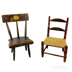 Two Painted and Turned Wood Miniature Chairs
