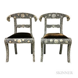 Pair of Anglo/Indian-style Hardwood and Mother-of-pearl Side Chairs