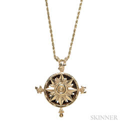 14kt Gold Compass Rose Pendant with Compass, A.G.A. Correa & Son