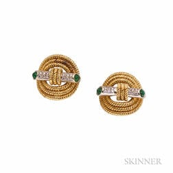 18k Gold, Emerald, and Diamond Earclips