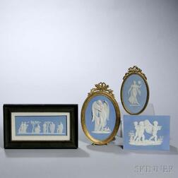 Four Wedgwood Light Blue Jasper Plaques