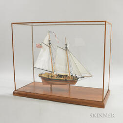 Cased Carved and Painted Wood Ship Model of the Louisiana