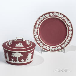 Wedgwood Crimson Jasper Dip Dish, Cover, and Stand
