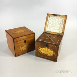Two Inlaid Mahogany and Satinwood Tea Caddies