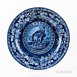 Staffordshire Historical Blue Transfer-decorated Arms of Rhode Island Plate