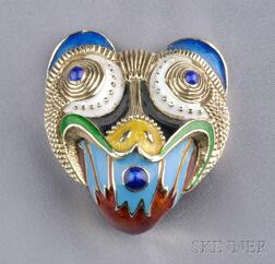14kt Gold and Enamel Jaguar Clip/Brooch, Kenneth J. Lane