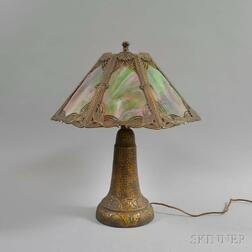 Art Nouveau-style Bronzed Ceramic, Metal Overlay, and Slag Glass Table Lamp
