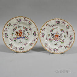 Two Armorial Porcelain Plates