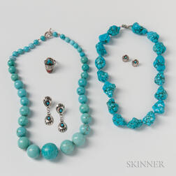 Two Turquoise Bead Necklaces, Two Pairs of Silver Earrings, and a Silver Ring