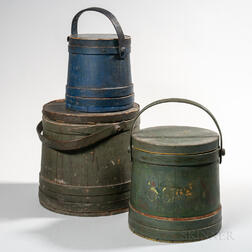 Three Painted Lidded Pails