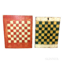 Two Small Painted Pine Checkerboards