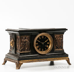 French Bronze and Black Slate Shelf Clock