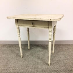 Country White-painted Pine One-drawer Stand