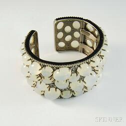 Oversized Sterling Silver and Moonstone Cuff