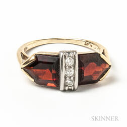 14kt Gold, Platinum, Garnet, and Diamond Ring