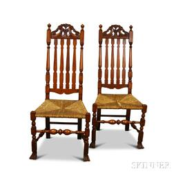 Pair of Wallace Nutting Carved Maple Bannister-back Side Chairs