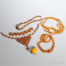 Six Assorted Amber Accessories