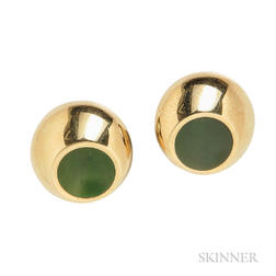 "18kt Gold and Nephrite ""Thumbprint"" Earclips, Elsa Peretti, Tiffany & Co."