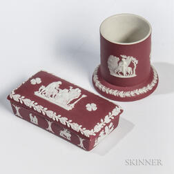 Two Wedgwood Crimson Jasper Dip Match Holders
