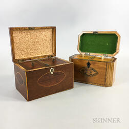 Two Georgian Inlaid Mahogany and Satinwood Tea Caddies