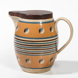 Mocha Cat's-eye Barrel-form Jug with Carved Wood Cover