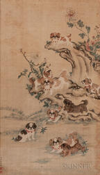 Painting Depicting Pekingese Dogs