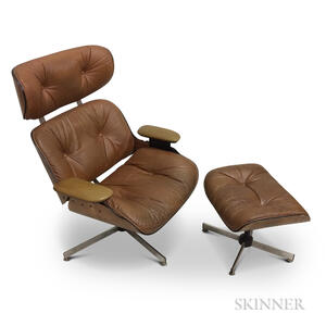 Plycraft Leather Lounge Chair and Ottoman.