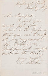 Stanton, Elizabeth Cady (1815-1902) Autograph Letter Signed, Tenafly, New Jersey, Undated.