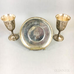 Whiting Sterling Silver Monogrammed Dish and a Pair of S. Kirk & Sons Anniversary Goblets