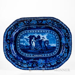 Large Staffordshire Historical Blue Transfer-decorated Arms of New Jersey Platter