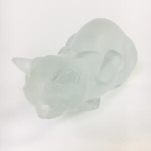 Lalique Frosted Crystal Cat