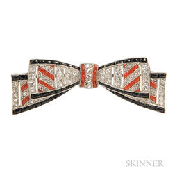 Art Deco Platinum, Coral, Onyx, and Diamond Bow Brooch